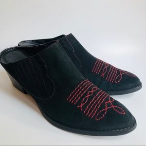 Van Eli Black Suede Pointed Mules Red Stitching